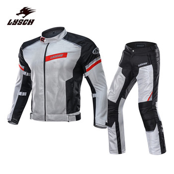 LYSCHY Men's Motorcycle Jacket Pants Breathable Summer Motocross Racing Suit Reflective Protection Pads Motocross Jacket Pants