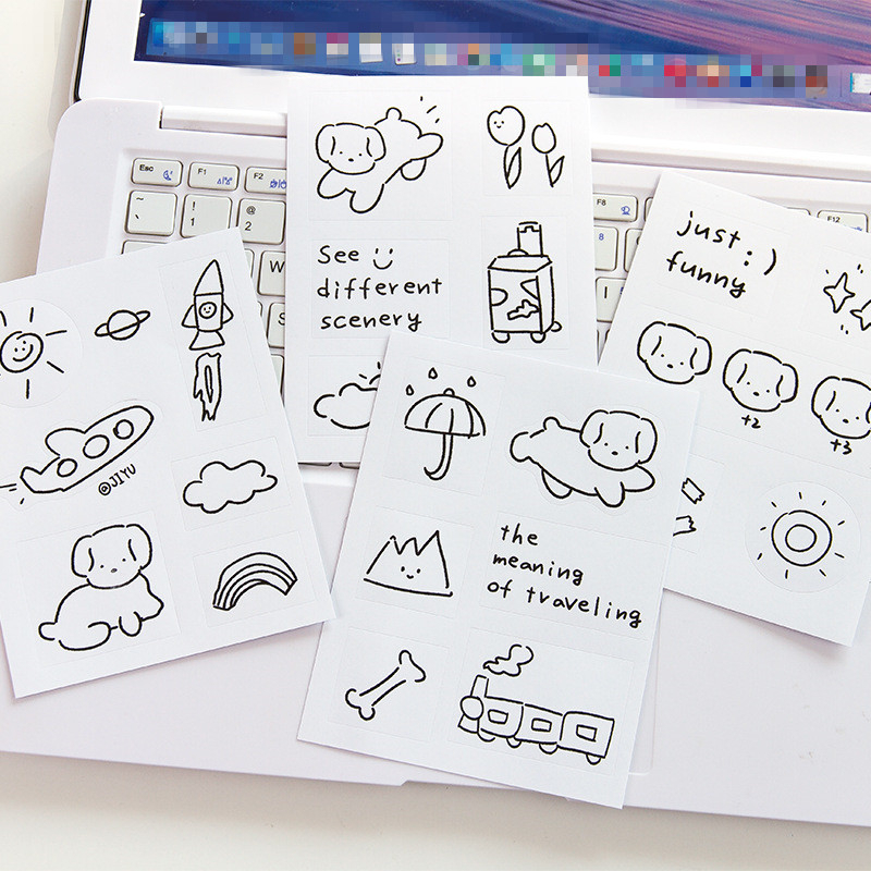 SIXONE 5 Sheets Cartoon Simple Brief Strokes Animal Decorative Sticker Korea Notebook Kawaii Stickers Scrapbooking Stationery