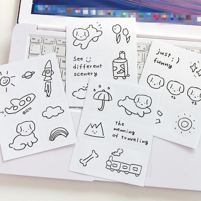 SIXONE 5 Sheets Cartoon Simple Brief Strokes Animal Decorative Sticker Korea Notebook Kawaii Stickers Scrapbooking Stationery