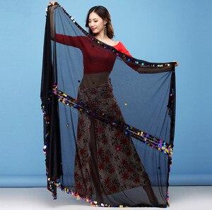 Image 1 - Kobiety taniec brzucha szalik Malaya duży rozmiar rzucony szaliki Sequine zdobione połysk rekwizyty sceniczne czarne czerwone welony