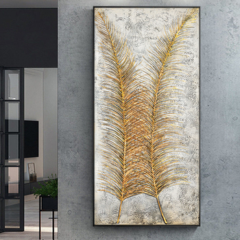 Golden Feathers Hand Made Oil Painting On Canvas Oil Painting Modern Canvas Wall Art For Bedroom Living Room Decor Picture