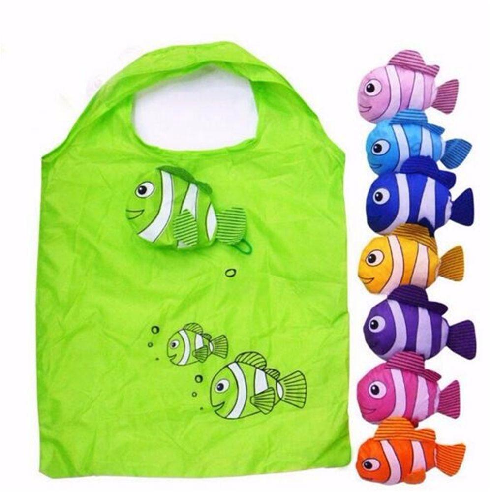 Hot Reusable Little Fish Folding Shopping Bag Foldable Eco Nylon Bag Tote Carrier Polyester  Eco Storage Handbag