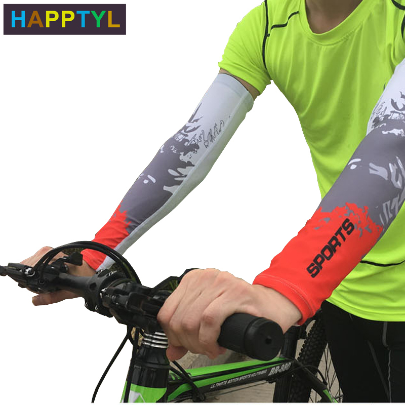 HAPPTYL 1Pair UV Protection Cooler Arm Sleeves Unisex Men Women Sun Protection Arm Cover Sleeve For Bike/Hiking/Running/Golf