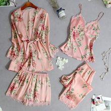 Em estoque quatro peças de moda pijamas feminino plus size inverno confortável impressão 2020 novos pijamas define pijamas mujer algodon