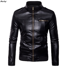 MarKyi stand collar soft leather spring jacket men good quality leather biker jackets for men