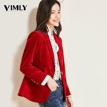 Vimly office ladies 솔리드 블레이저 빈티지 코듀로이 여성 비즈니스 자켓 코트 우아한 가을 겨울 outwear
