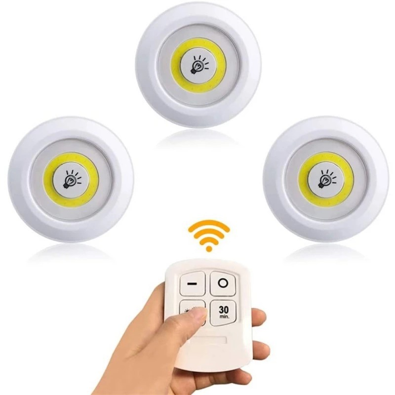 New 5W Super Bright Cob Under Cabinet Light LED Wireless Remote Control Dimmable Wardrobe Night Lamp Home Bedroom Closet Kitchen
