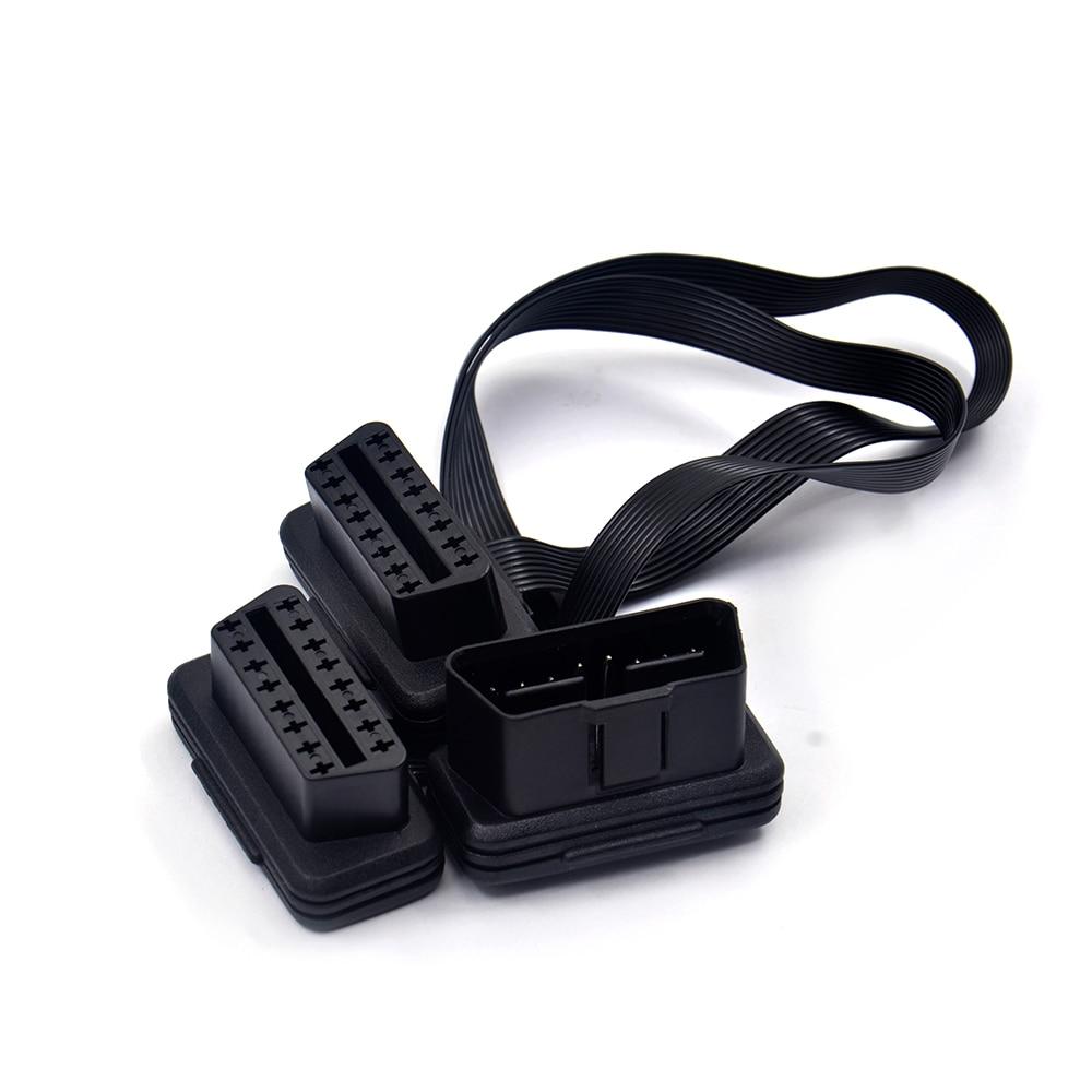 Wholesale 5 pcs Male to Dual Female 16 Pins OBD2 Diagnostic Extendtion Cable Elm327 Connector OBD Adapters