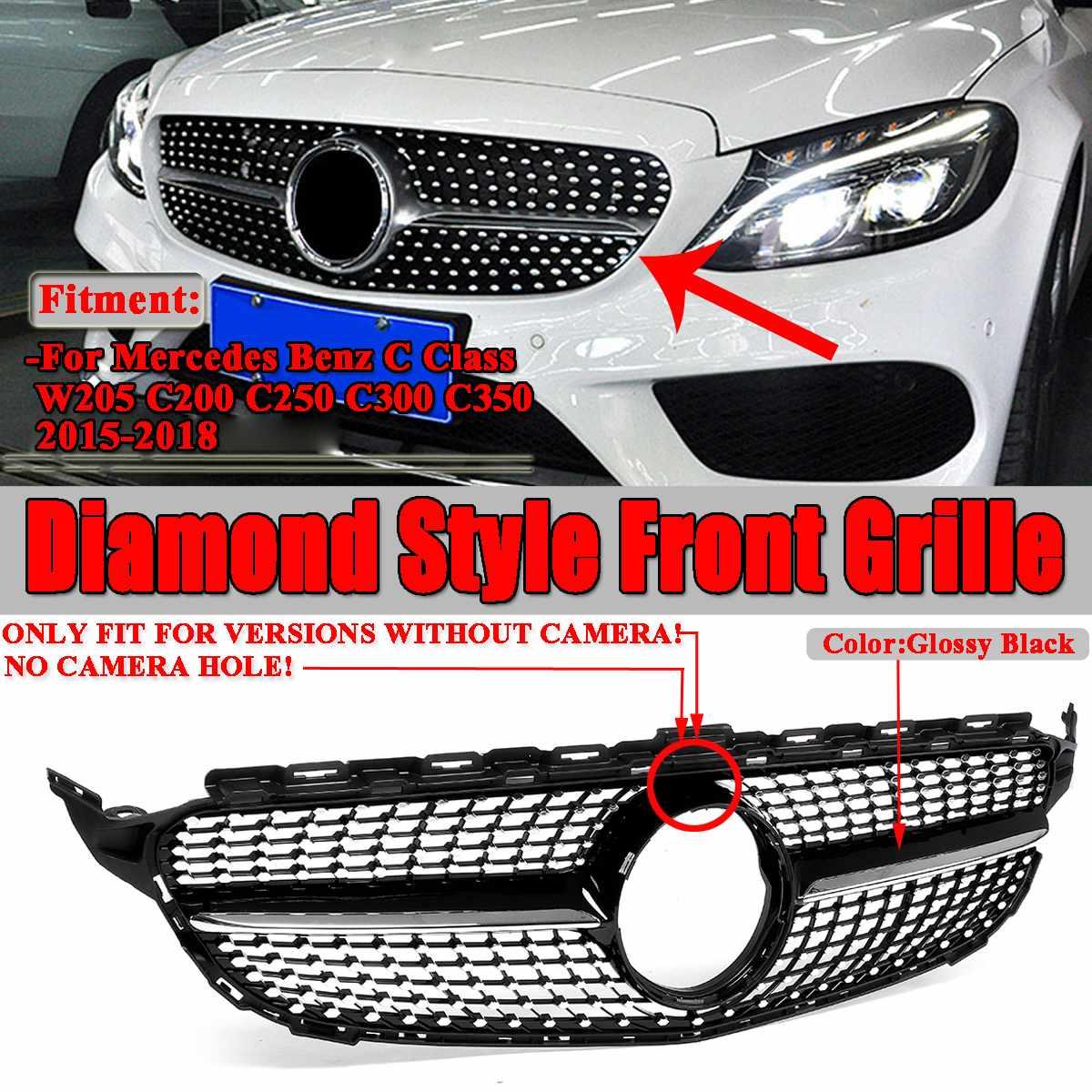 W205 Алмазный Стиль Решетка переднего бампера автомобиля сетка решетка гриль для Mercedes для Benz W205 C Class C200 C250 C300 2015 2018