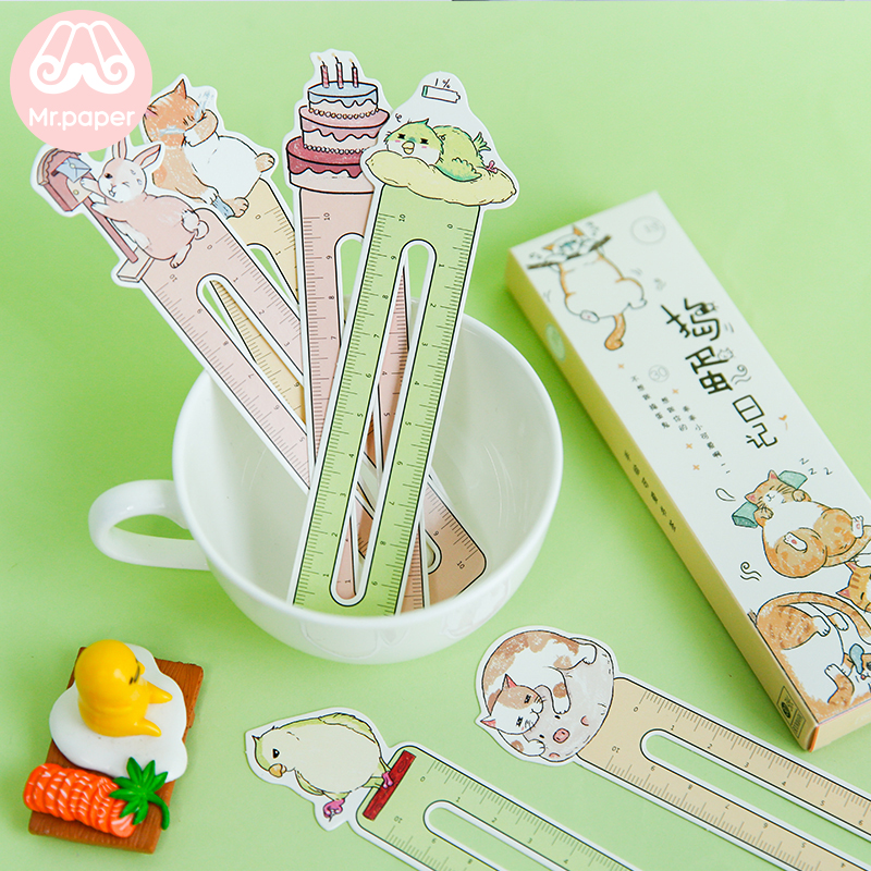 Mr Paper 30pcs/box Kawaii Kitty Ruler Irregular Bookmarks For Novelty Book Reading Maker Page Writing Tool Paper Ruler Bookmarks