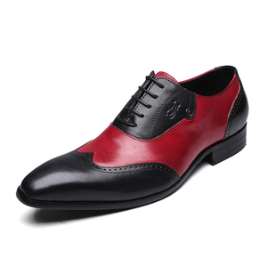 Image 4 - FELIX CHU Stylish Mens Formal Oxford Shoes Wingtip Genuine Leather Mens Wedding Party Black Red Pointed Toe Dress Shoes for Men