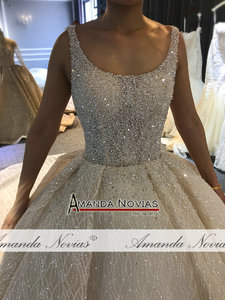 Image 5 - 2020 Champagne Luxury Beading Wedding dress Shiny Cathedral train wedding gown half payment  not  full price
