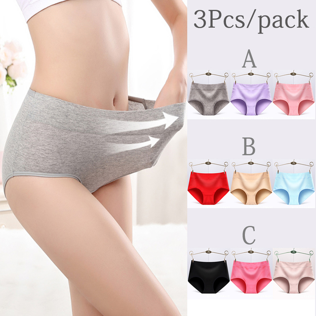 3Pcs/Pack Briefs for Sexy woman panties Solid seamless Middle Waist underpants panties women cotton underwear girl knickers 1
