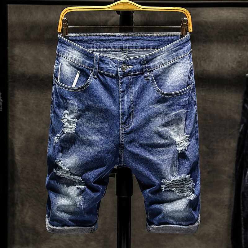 Summer Thin Section With Holes Denim Shorts Young MEN'S Korean-style Shorts Elasticity Straight-Cut 5 Shorts Men's Summer Tian C