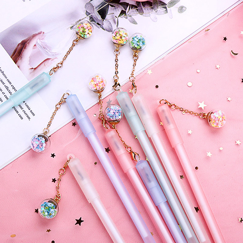 1PC Novelty Crystal Gel Pens Cute Star Pens Kawaii Pendant Pens For Children Girl Gifts School Office Supplies Korean Stationery