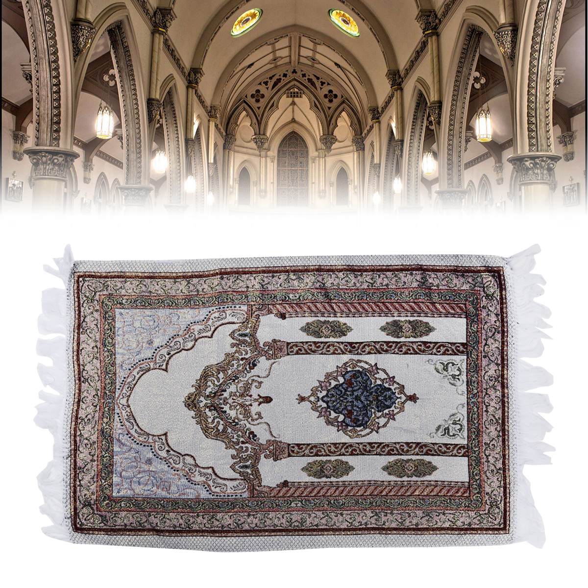 1Piece 70*110cm Muslim Prayer Rug Prayer Carpet Mat Salat Namaz Islamic Arabian Style Islamic Eid Decoration Gift