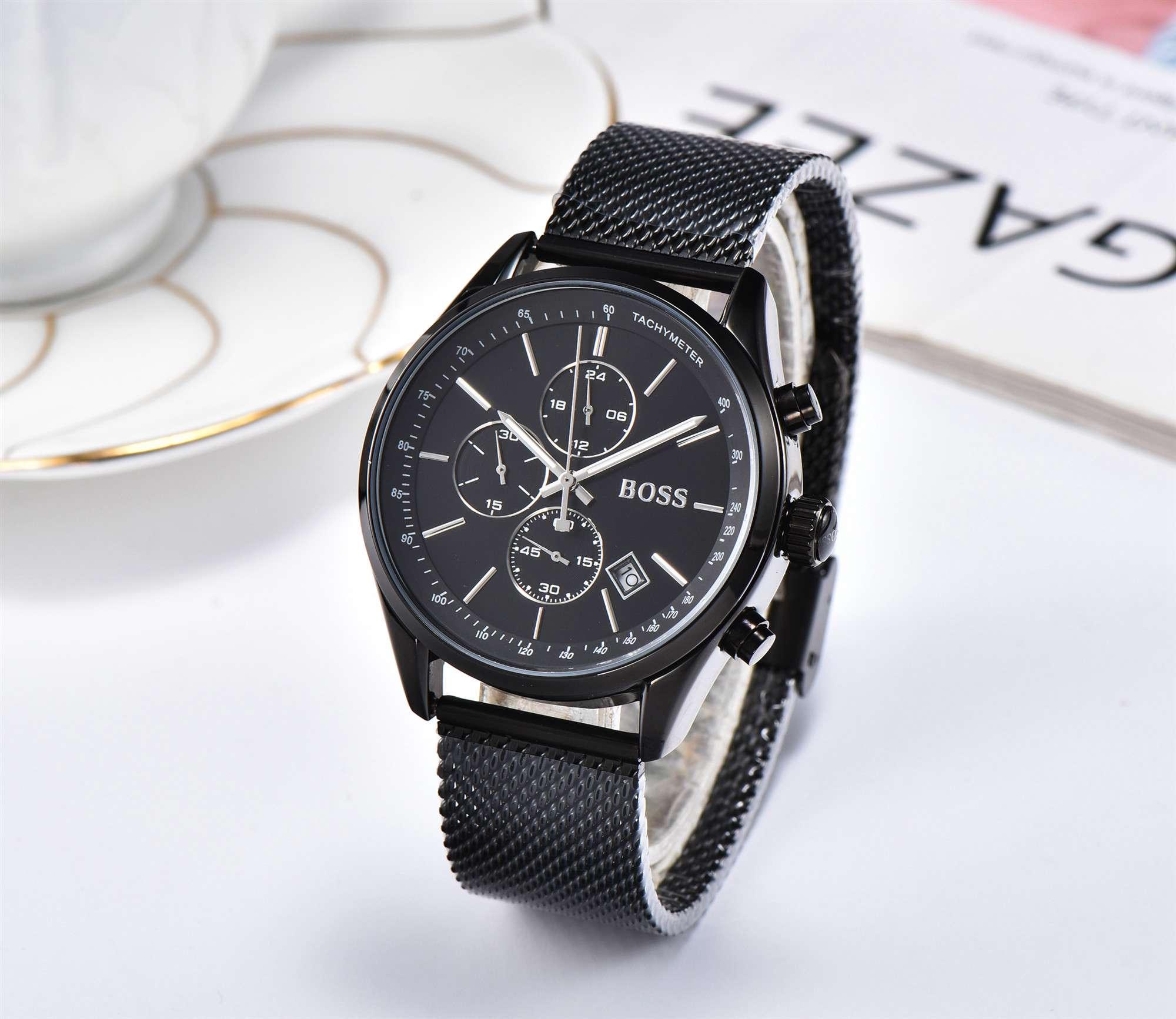 All Dials Work Boss Luxury Men Watches Montre Homme Fashion Leather Quartz Watch Men Dress Business Male Clock Reloj Hombre