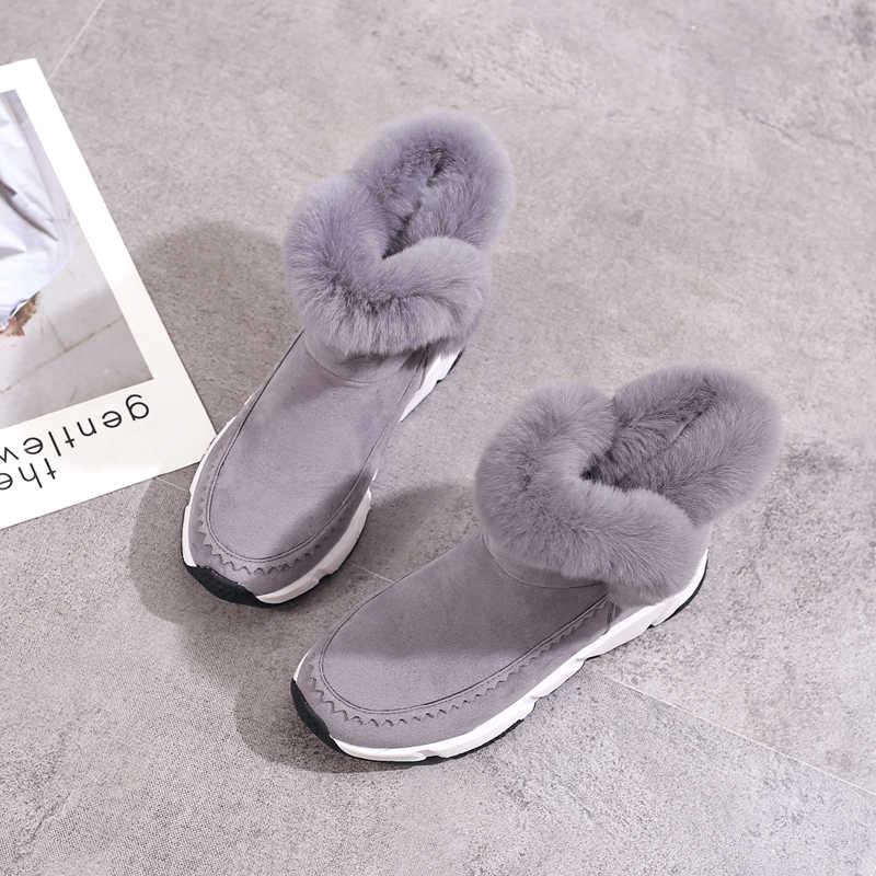2018 kış kama Patchwork Faux kürk moda kadın ayakkabı kadın çizmeler platformu sıcak kar Femme bayan botları siyah 869