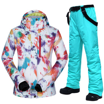 Ski Suit Women Brands Winter Waterproof Windproof Sportwear Female Winter Ski Jacket And Pants Strap Snow Set Snowboarding Suits dropshipping waterproof sportwear female ski suit women winter ski wear hooded jacket strap pants snow jacket and pants