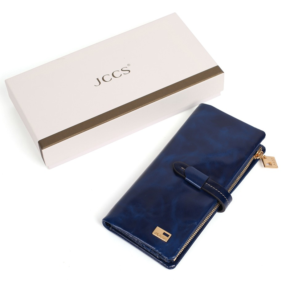JCCS Brand Designer Genuine Leather Folding Wallet Women's & Men's Long Wallet Retro Purse Clutch Wallets