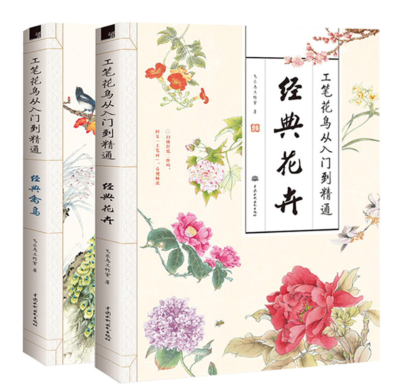 New 2 Pcs/set Meticulous Flowers And Birds From Entry To Master Beginner Chinese Painting Basics Book