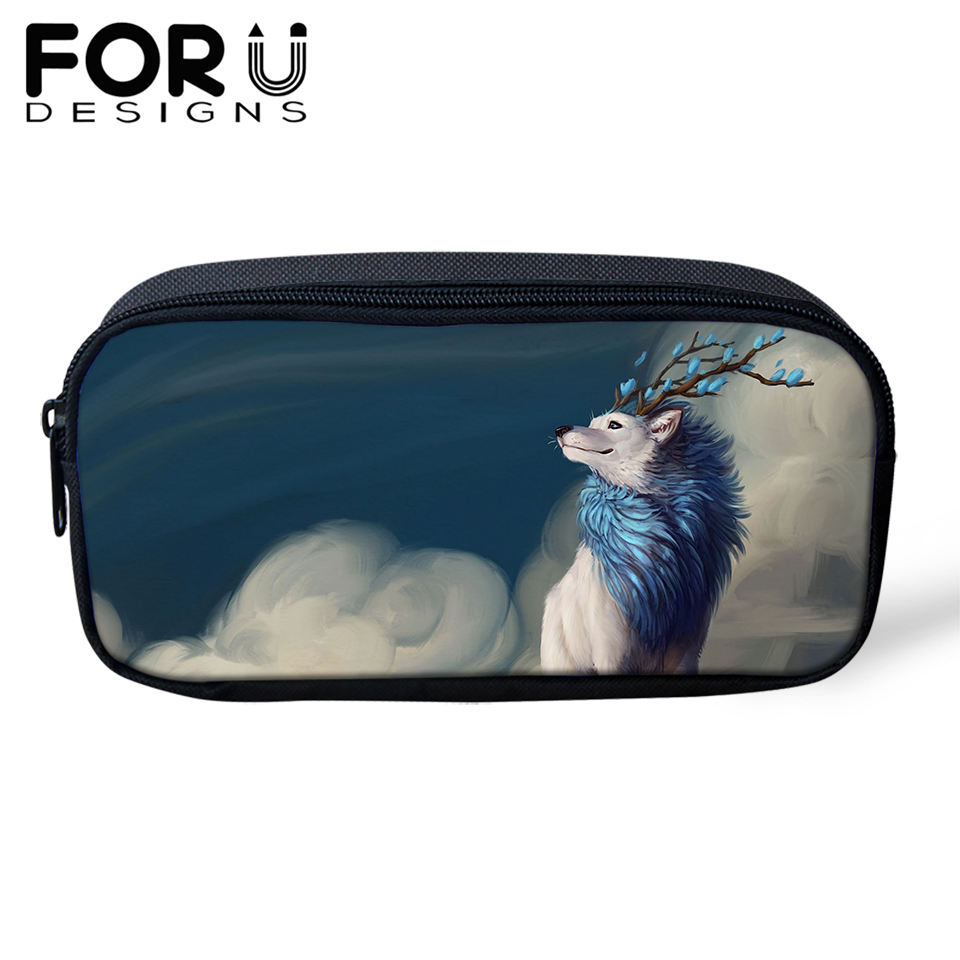 FORUDESIGNS Wolf Print Pencil Case for Boys Bag Childrens Gift School Customize Images Cosmetic Cases Escolar Lapices