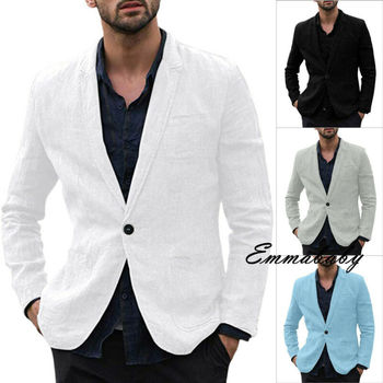 Spring Autumn Luxury Men Blazer 2019 Casual Business Cotton And Linen Slim Fit Suit jacket Male Plus Size M-3XL Blazer Masculino