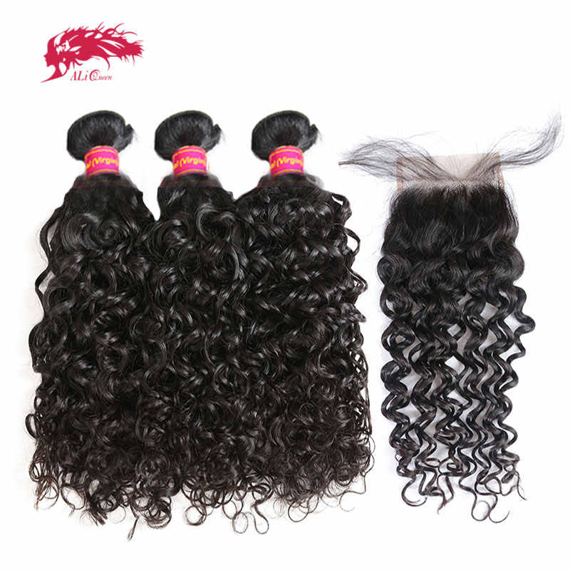 Brazilian Water Wave Bundles With Closure Virgin Remy Human Hair Bundles With Lace Closure 3/4 Bundles With Hair Closure