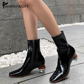 Haoshen&Girl Ankle Boots For Women Zipper Boots Women Heel Boots Sock Boots 2020 Sexy Booties Woman White Boots Female Size34-43