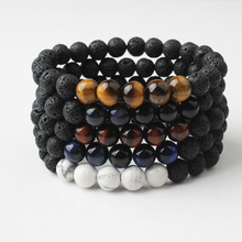 LingXiang  natural JewelryTiger Eye basaltic lava Natural Stone Beads bracelet Fashion amulets for men and women