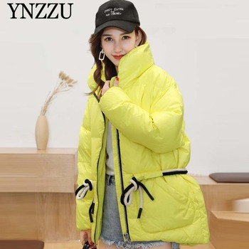 Yellow Fashion Women Short down jacket Winter 2019 High collar Lace up Female warm Coat Thick Fashion Girls Outwear YNZZU 9O126