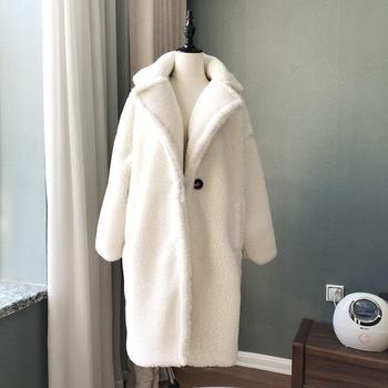 цена Winter Overcoat Women Faux Fur Coat Luxury Long Fur Coat teddy Jacket Loose Lapel Shaggy Coat Plus Winter Thick Warm Fluffy онлайн в 2017 году