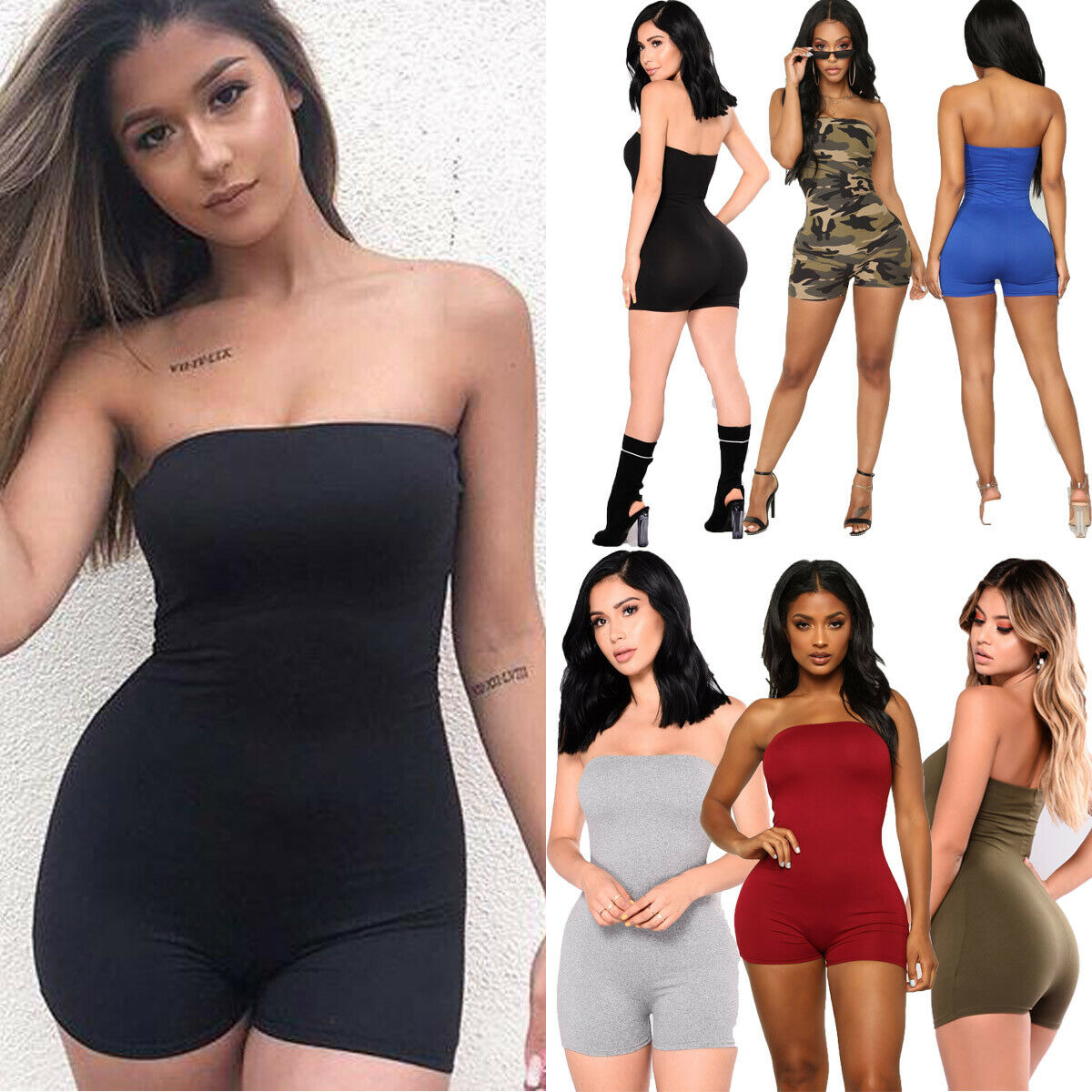 Women Female Sleeveless Jumpsuits Bodycon Trousers Solid Tight slim Bodysuits Sexy Pants Solid Romper Jumpsuit Fashion