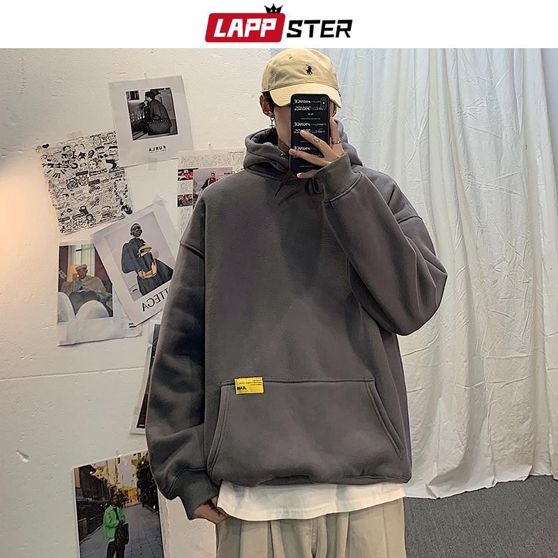LAPPSTER Men Oversized Harajuku Hoodies Sweatshirts 2020 Thick Mens Solid Hip Hop Hoodie Male Korean Fashions Streetwear Clothes