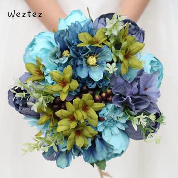 Weztez bukiety ślubne dla nowożeńców z koronki bukiety ślubne sztuczne jedwabne kwiaty róży kobiet akcesoria ślubne SPH135 tanie i dobre opinie NYLON 27cm 23cm 0 25kg FZ011 Bukiet ślubny bridal bouquet wedding bouquet