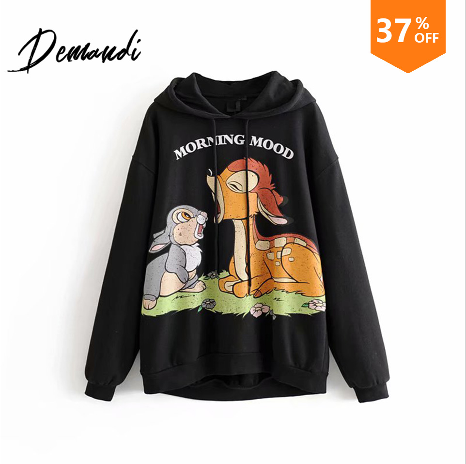 DEMANDI Women's Sanitary Clothes In Autumn And Winter New Loose Leisure Cartoon Printing Patterns With Hats And Sanitary Clothes