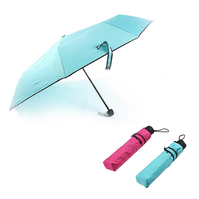 Creative Rain Gear Manufacturers Direct Selling South Korea Solid Color Cool Covered Edge Three Fold Folding Umbrella Advertisin