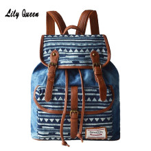 LILY QUEEN Women Backpack Woven Fabric Female Bagpack Bohemia Boho Laides Drawstring Rucksack Girls School Bags(China)