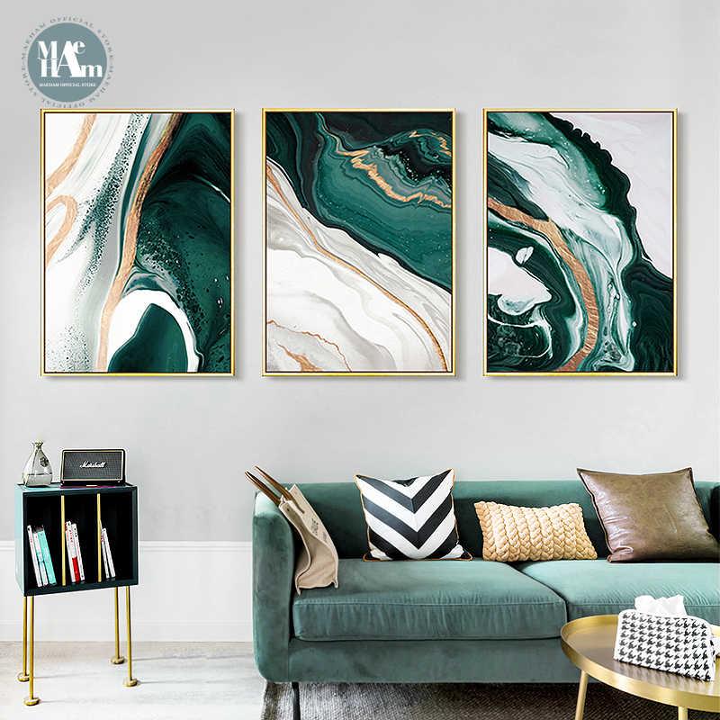 Современный абстрактный золотой фольги линий из плотной ткани арт Картины для Гостиная Плакаты для спальни и принты постер на стену для домашнего декора