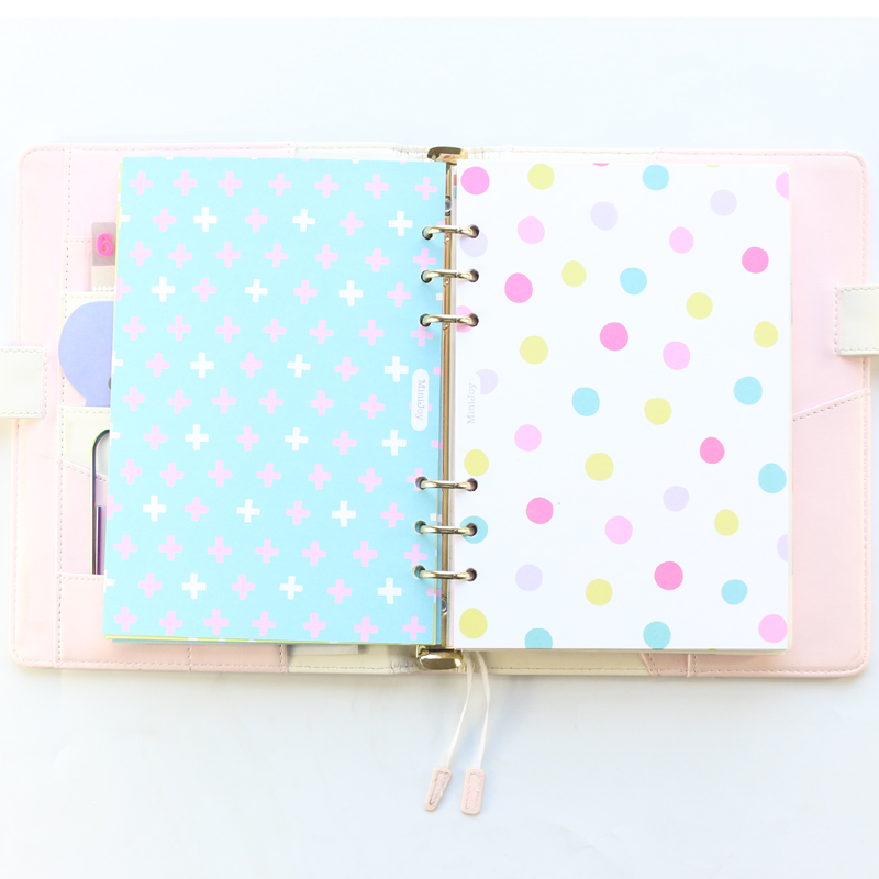 Domikee Colorful Decoration Index Divider For 6 Rings Binder Planner Notebook,candy School Refilling Inner Paper Stationery A5A6