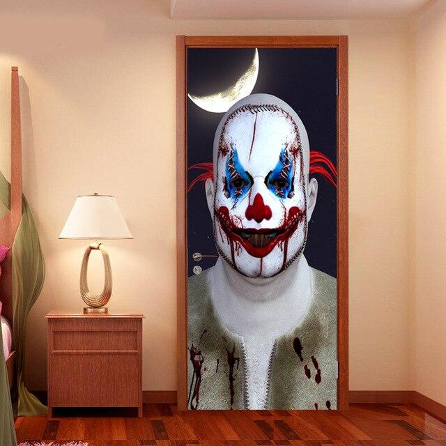 Halloween porte autocollants verre fenêtre autocollant salle de bain papier peint horreur effrayant porte autocollant accessoires de fête