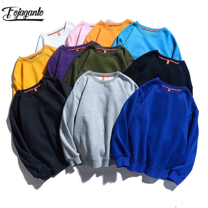 FOJAGANTO Quality Brand Men Solid Color Sweatshirt Men's Casual Hoodie Sweatshirts Autumn New Male Warm Long Sleeve Sweatshirt