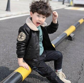 Children's clothing boy leather plus velvet thickening 2019 new children's autumn and winter jacket jacket foreign gas baby big