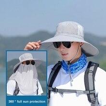 Наружная Кепка с широкими полями, 360 градусов, солнцезащитный козырек, защита от ультрафиолета, ветрозащитная, быстросохнущая маска для лица, покрытие на шею, шляпа в рыбацком стиле