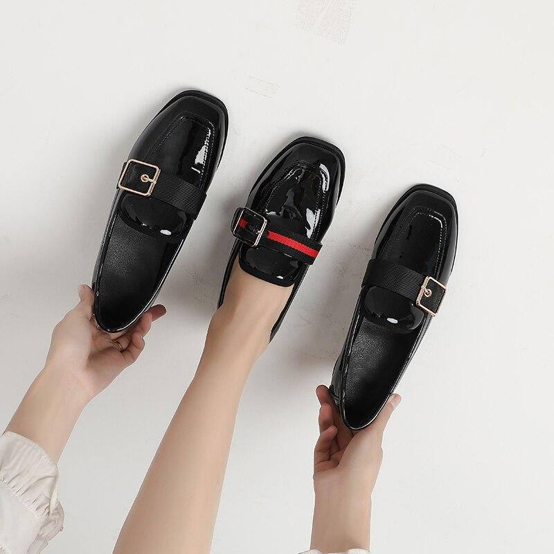 New 2020 Spring Women Shoes Loafers Elegant Low Heels Slip On Footwear Female Square Toe Thick Heel