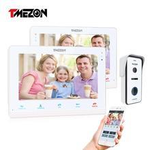 TMEZON  Wireless/Wifi Smart IP Video Doorbell Intercom System ,10 Inch+7 Inch Screen Monitor with 1x720P Wired Door Phone Camera