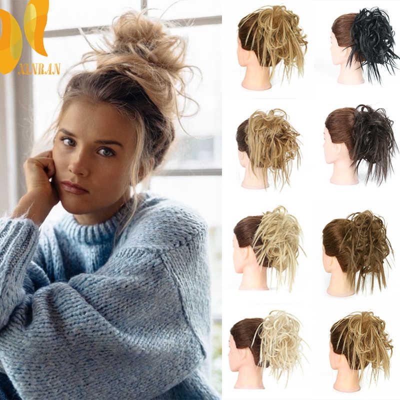 XINRAN syntetyczny Messy przyrząd do koka z włosów Tousled Hairpiece gumką Chignon Curly Scrunchie Updo Cover Hair Tail dla kobiet