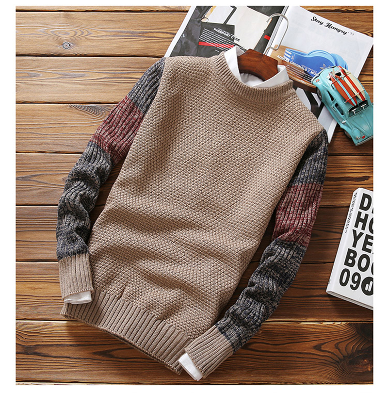 ZUSIGEL Fashion Autumn Winter Slim Fit Mens Sweaters For 2019 O-neck Casual Pullover Men Sweater Patchwork Knitted Sweaters Men