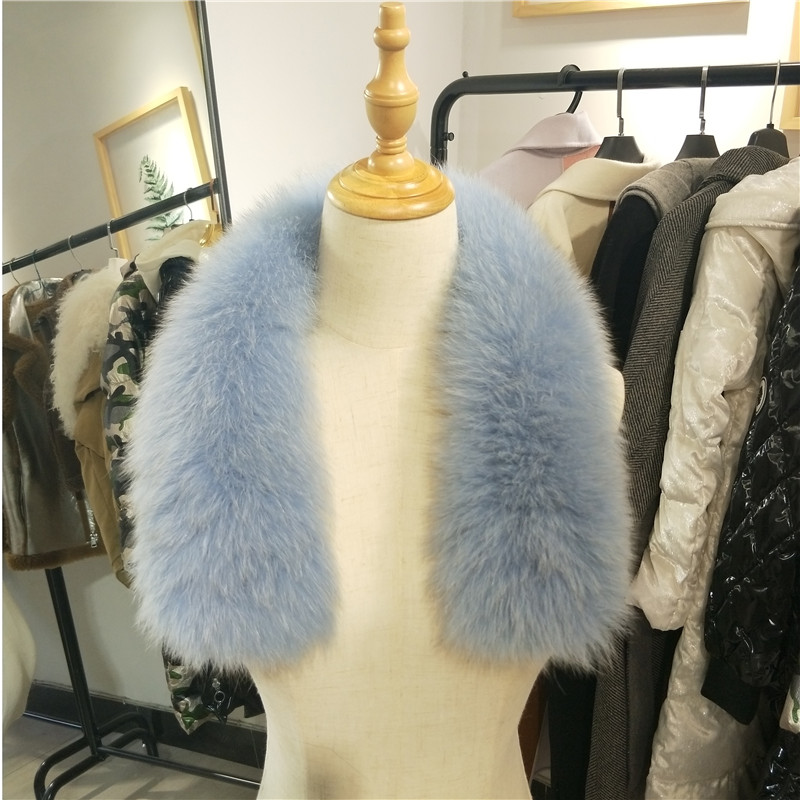 Genuine Fox Fur Collar For Hood Natural Blue Trim Scarf Big 100% Real Custom Made