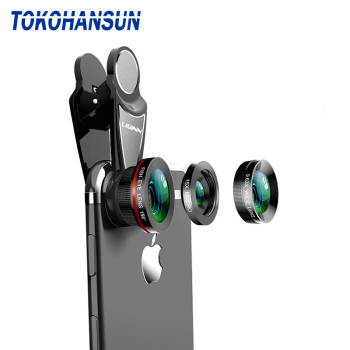 TOKOHANSUN 3in1 Phone Lens kit Fisheye & 0.63x Super Wide Angle & 15x Super Macro Lens HD Camera Lentes for iPhone 6S 7 Xiaomi